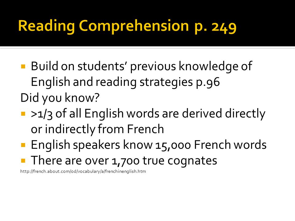 Build on students' previous knowledge of English and reading strategies p.96 Did you know.