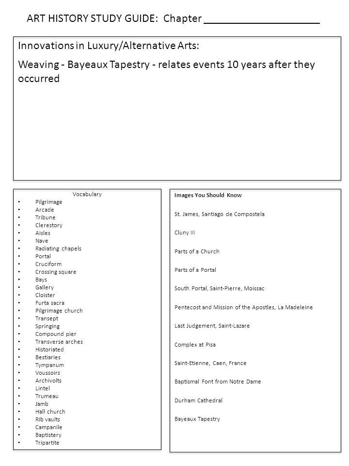 Vocabulary Pilgrimage Arcade Tribune Clerestory Aisles Nave Radiating chapels Portal Cruciform Crossing square Bays Gallery Cloister Furta sacra Pilgrimage church Transept Springing Compound pier Transverse arches Historiated Bestiaries Tympanum Voussoirs Archivolts Lintel Trumeau Jamb Hall church Rib vaults Campanile Baptistery Tripartite Images You Should Know St.