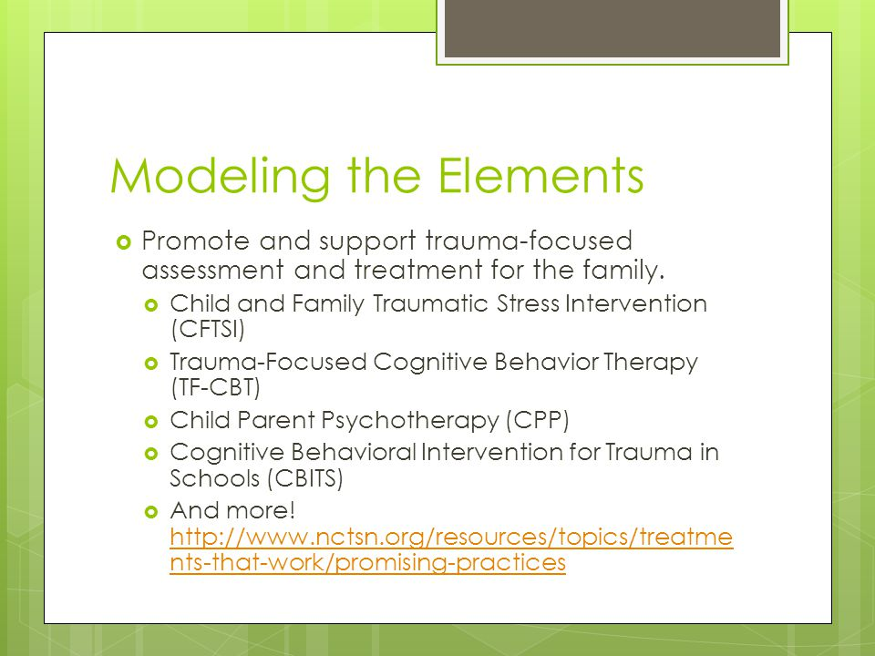 Modeling the Elements  Promote and support trauma-focused assessment and treatment for the family.