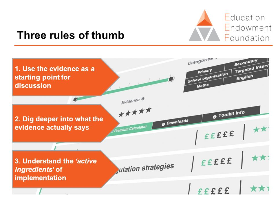 Three rules of thumb 1. Use the evidence as a starting point for discussion 2. Dig deeper into what the evidence actually says 3. Understand the 'acti