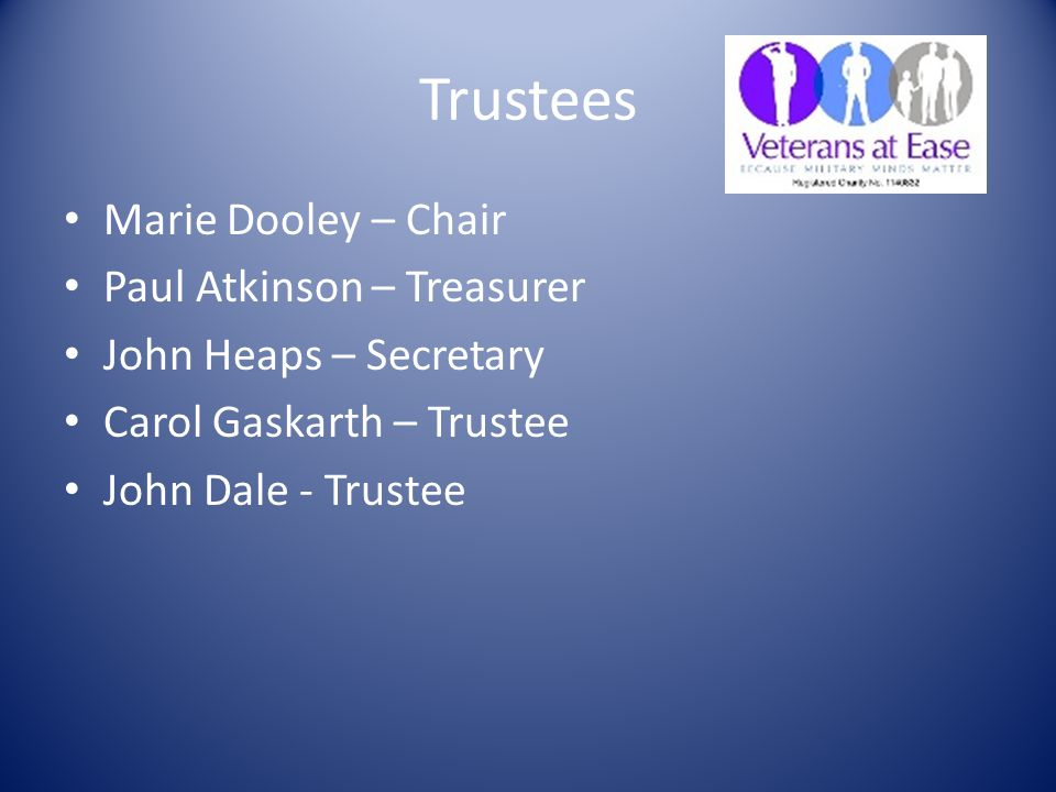 Trustees Marie Dooley – Chair Paul Atkinson – Treasurer John Heaps – Secretary Carol Gaskarth – Trustee John Dale - Trustee