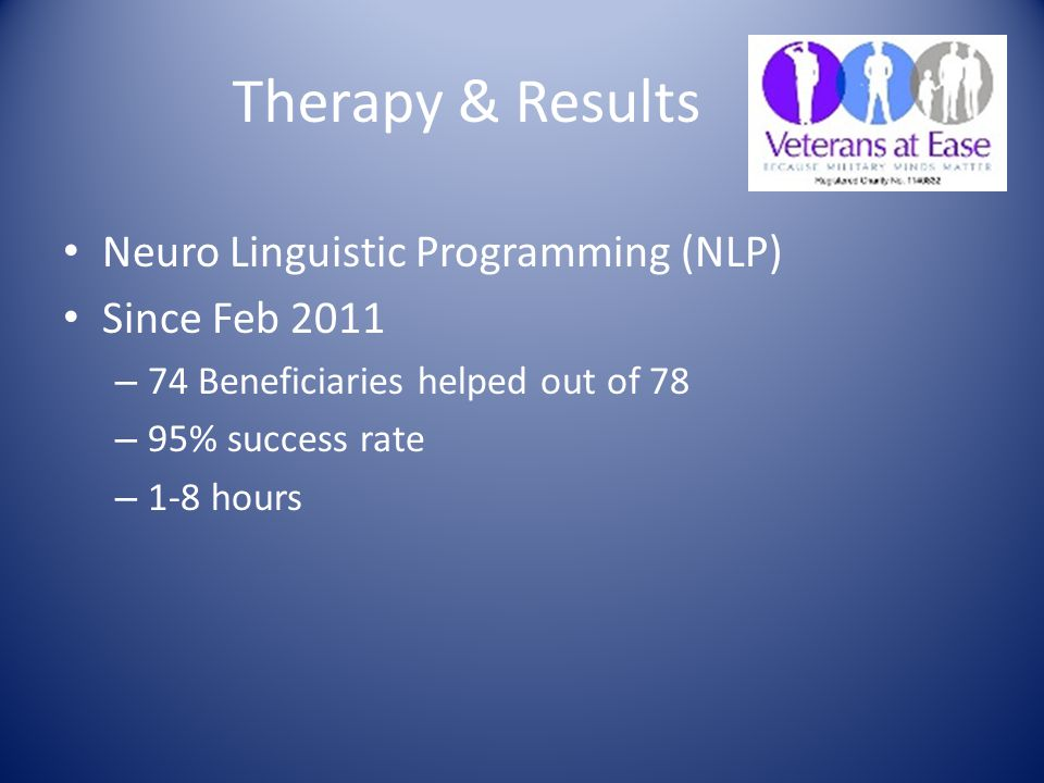 Therapy & Results Neuro Linguistic Programming (NLP) Since Feb 2011 – 74 Beneficiaries helped out of 78 – 95% success rate – 1-8 hours