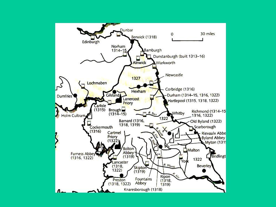 Sept 1326 - Isabella and Mortimers' army lands in England Nov 1326 Edward II captured - deposed January 1327 - Edward III crowned king 2 Feb 1327… 2 Feb 1327 - Scots attack Norham castle - war resumed!