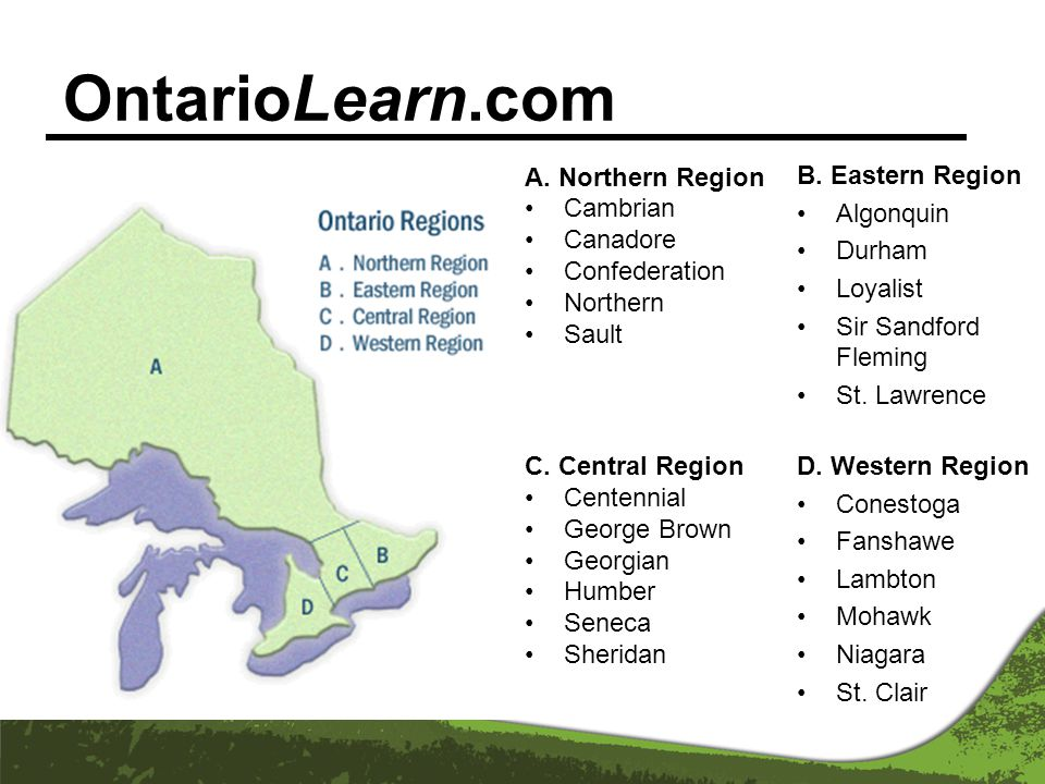OntarioLearn.com A. Northern Region Cambrian Canadore Confederation Northern Sault C.