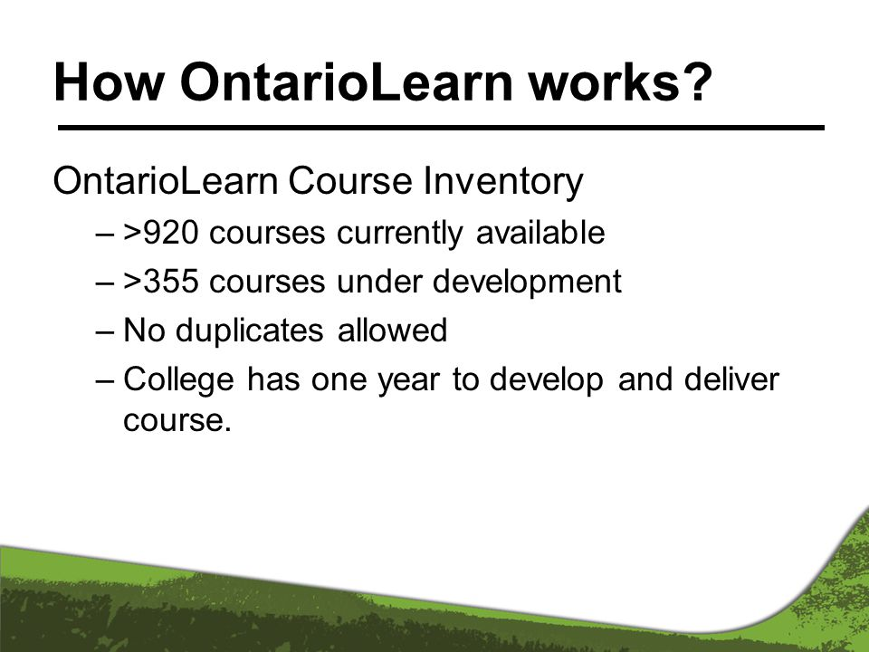 How OntarioLearn works.