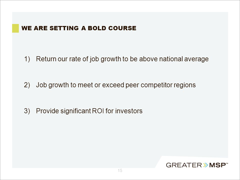 WE ARE SETTING A BOLD COURSE 1)Return our rate of job growth to be above national average 2) Job growth to meet or exceed peer competitor regions 3) Provide significant ROI for investors 15