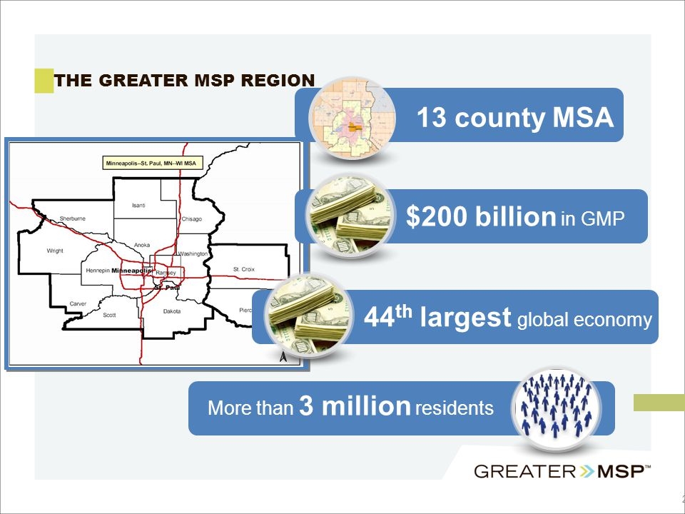2 THE GREATER MSP REGION $200 billion in GMP 13 county MSA More than 3 million residents 44 th largest global economy