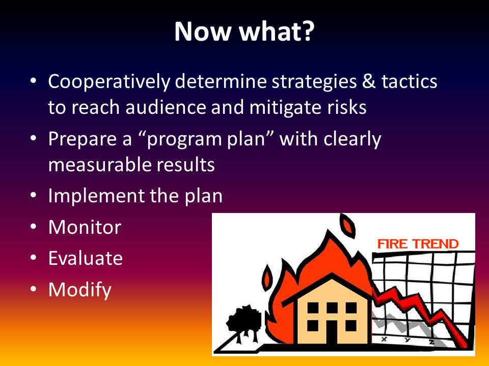 "Now what? Cooperatively determine strategies & tactics to reach audience and mitigate risks Prepare a ""program plan"" with clearly measurable results I"