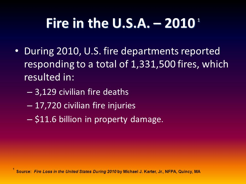 Fire in the U.S.A. – 2010 1 During 2010, U.S. fire departments reported responding to a total of 1,331,500 fires, which resulted in: – 3,129 civilian