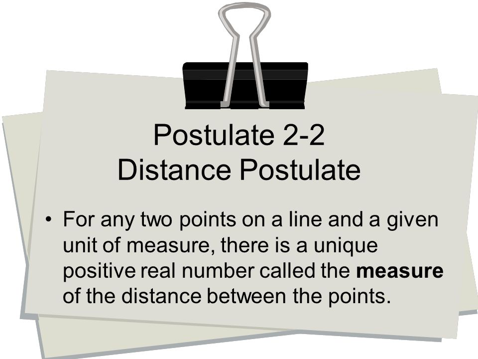 For any two points on a line and a given unit of measure, there is a unique positive real number called the measure of the distance between the points.