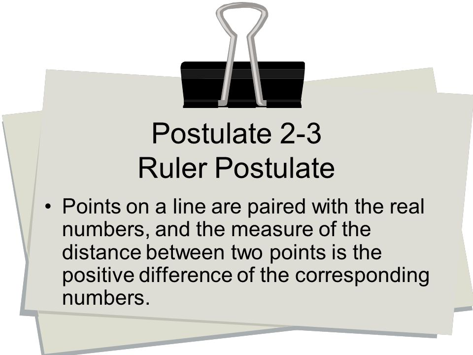 Points on a line are paired with the real numbers, and the measure of the distance between two points is the positive difference of the corresponding numbers.