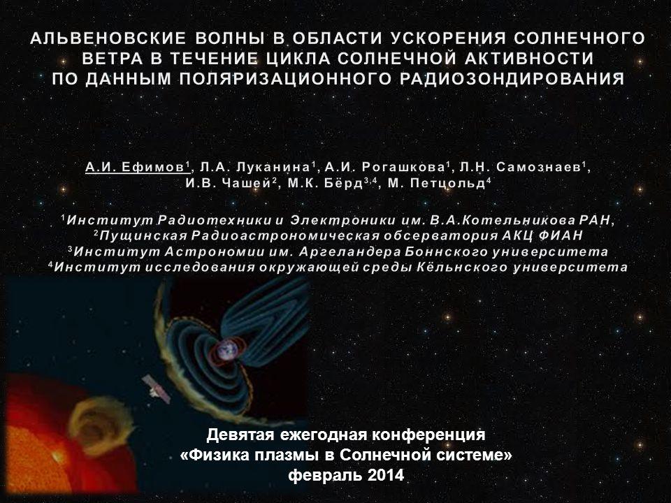 Геометрия эксперимента радиозондирования околосолнечной плазмы с использованием космических аппаратов HELIOS-1 (1974-1986) и HELIOS-2 (1976-1980) Геометрия эксперимента радиозондирования околосолнечной плазмы с использованием космических аппаратов HELIOS-1 (1974-1986) и HELIOS-2 (1976-1980) Станции слежения: Goldstone (DSS 014) Canberra (DSS 043) Madrid (DSS 063) Effelsberg (DSS 069)