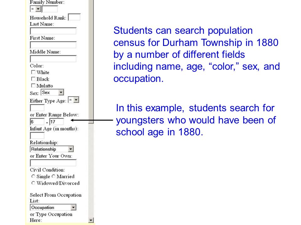 "Students can search population census for Durham Township in 1880 by a number of different fields including name, age, ""color,"" sex, and occupation. I"