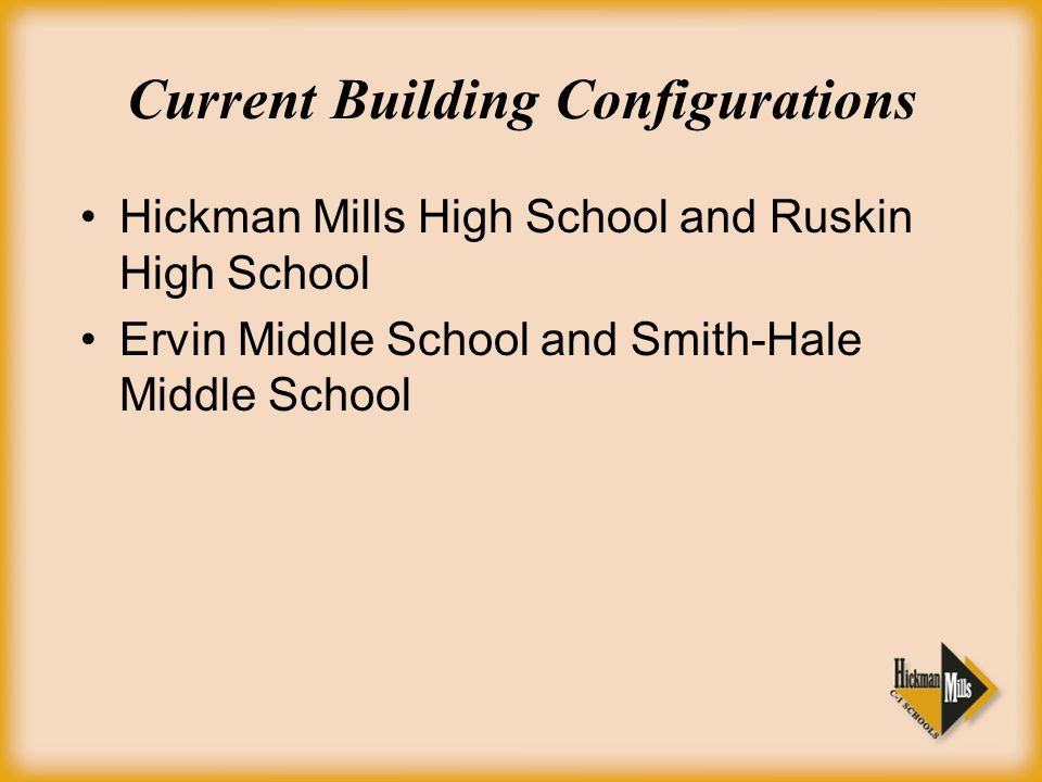 Current Building Configurations Hickman Mills High School and Ruskin High School Ervin Middle School and Smith-Hale Middle School