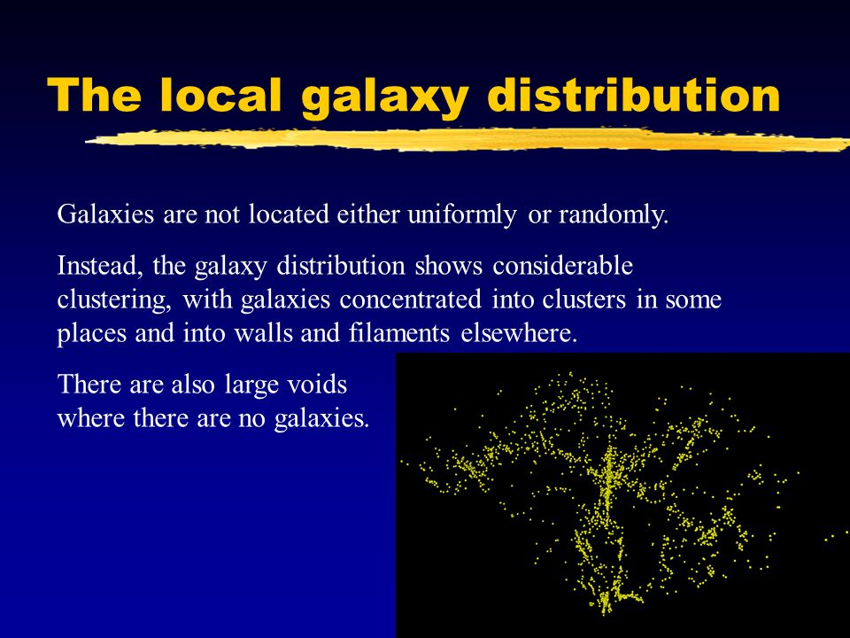 The local galaxy distribution Galaxies are not located either uniformly or randomly.
