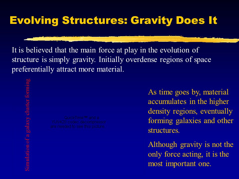 Evolving Structures: Gravity Does It It is believed that the main force at play in the evolution of structure is simply gravity.