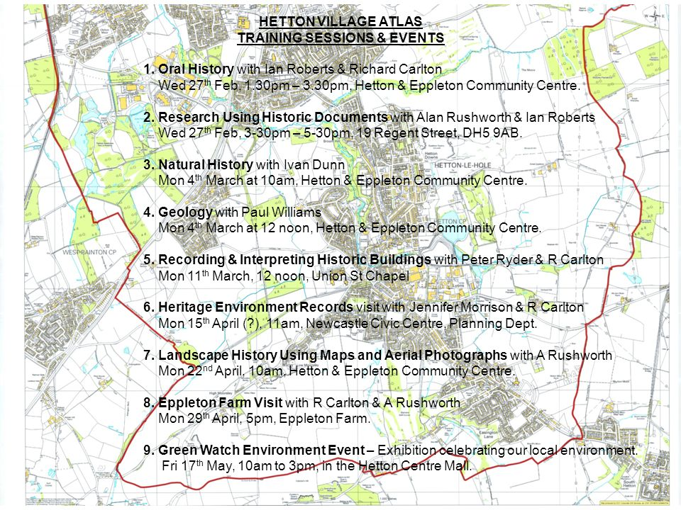 HETTON VILLAGE ATLAS TRAINING SESSIONS & EVENTS 1.