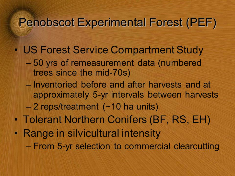 Penobscot Experimental Forest (PEF) US Forest Service Compartment Study –50 yrs of remeasurement data (numbered trees since the mid-70s) –Inventoried before and after harvests and at approximately 5-yr intervals between harvests –2 reps/treatment (~10 ha units) Tolerant Northern Conifers (BF, RS, EH) Range in silvicultural intensity –From 5-yr selection to commercial clearcutting
