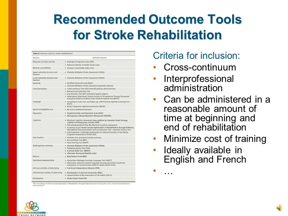"Gathering What Is Best Practice A Best Practice for Stroke Care –Consensus Panel on the Stroke Rehabilitation System Report (2007) Standard 5 – ""Strok"