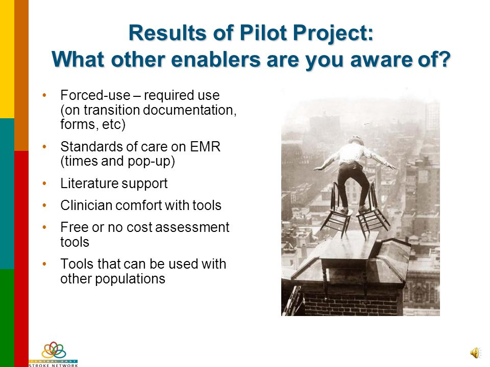 Results from Pilot Project: What do you think will help people to consistently use the core set of tools? Physician support Leadership support Educati