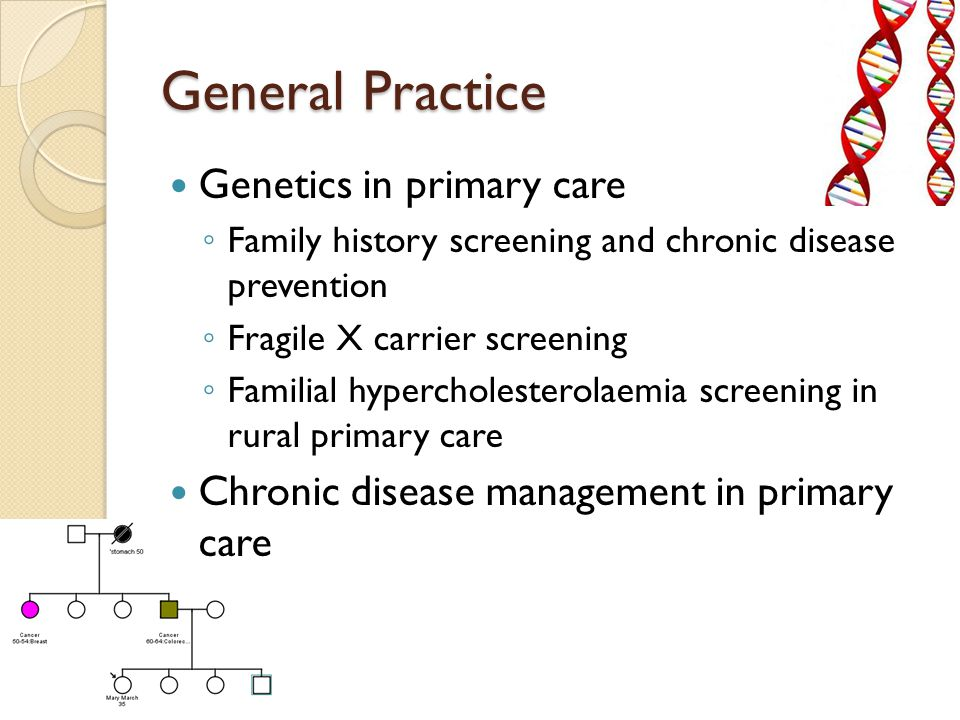 General Practice Genetics in primary care ◦ Family history screening and chronic disease prevention ◦ Fragile X carrier screening ◦ Familial hypercholesterolaemia screening in rural primary care Chronic disease management in primary care
