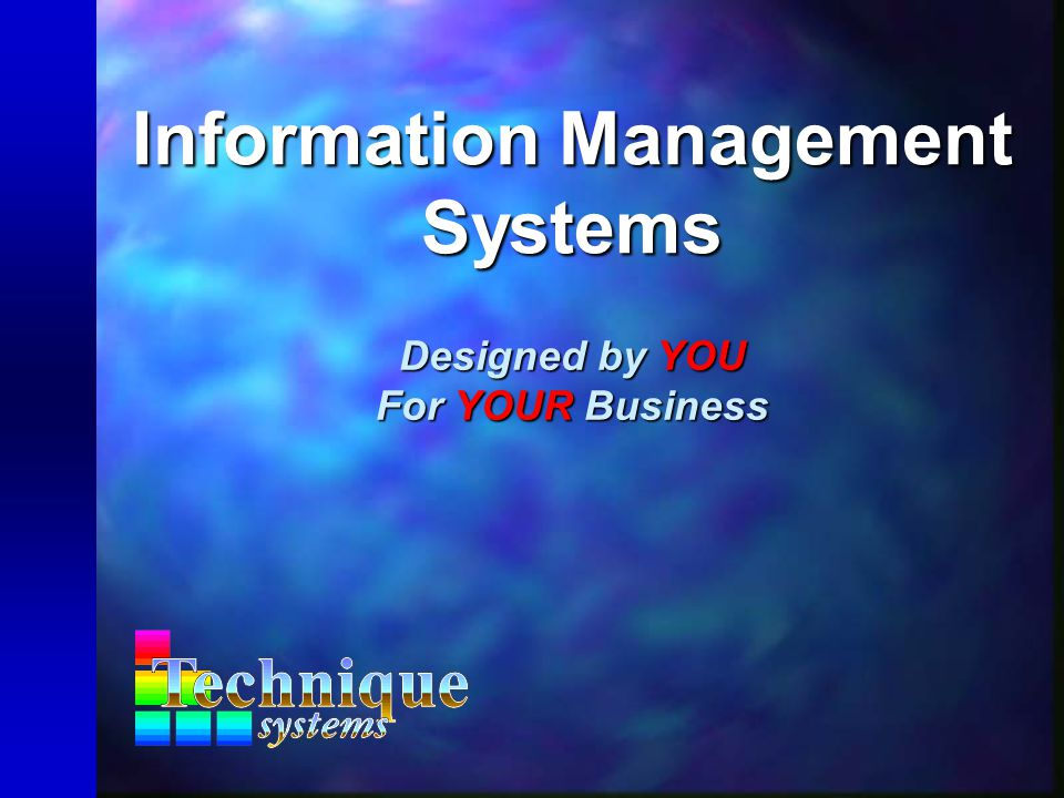 Information Management Systems Designed by YOU For YOUR Business