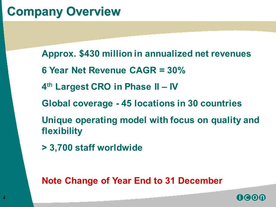 4 Company Overview Approx.
