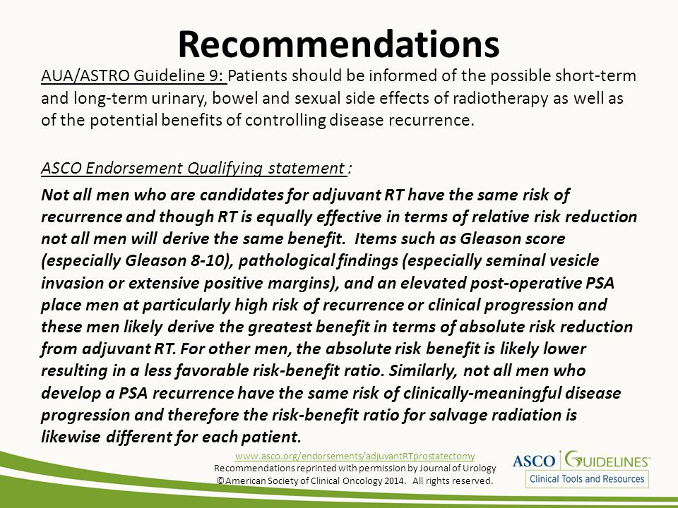 Recommendations AUA/ASTRO Guideline 9: Patients should be informed of the possible short-term and long-term urinary, bowel and sexual side effects of