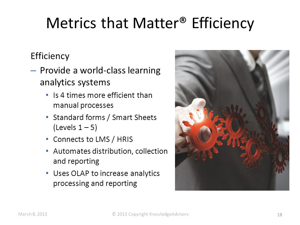 Metrics that Matter® Efficiency Efficiency – Provide a world-class learning analytics systems Is 4 times more efficient than manual processes Standard forms / Smart Sheets (Levels 1 – 5) Connects to LMS / HRIS Automates distribution, collection and reporting Uses OLAP to increase analytics processing and reporting 18 March 8, 2013© 2013 Copyright KnowledgeAdvisors