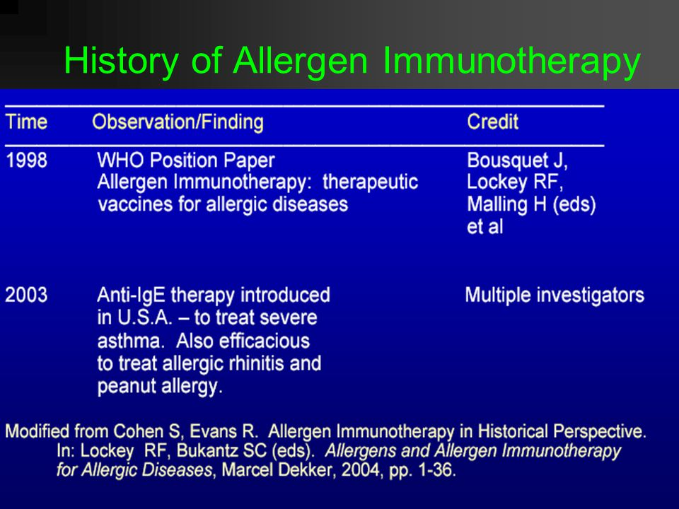 Specific immunotherapy in perennial rhinitis Mild rhinitisModerate rhinitis+/- conjunctivitis Severe rhinitis+/- conjunctivitis Allergen avoidance (when possible) Pharmacotherapy Consider immunotherapy WHO Position Paper 1997