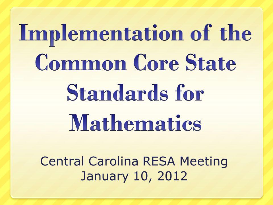 Central Carolina RESA Meeting January 10, 2012