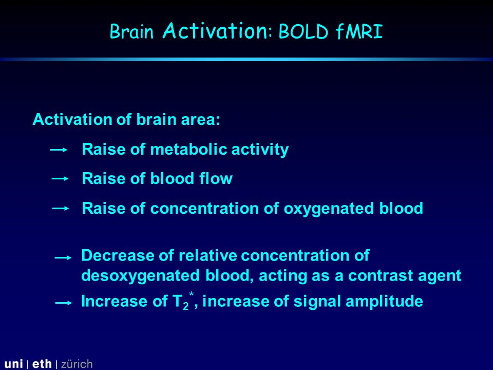Decrease of relative concentration of desoxygenated blood, acting as a contrast agent Increase of T 2 *, increase of signal amplitude Activation of brain area: Raise of metabolic activity Raise of blood flow Raise of concentration of oxygenated blood Brain Activation : BOLD fMRI