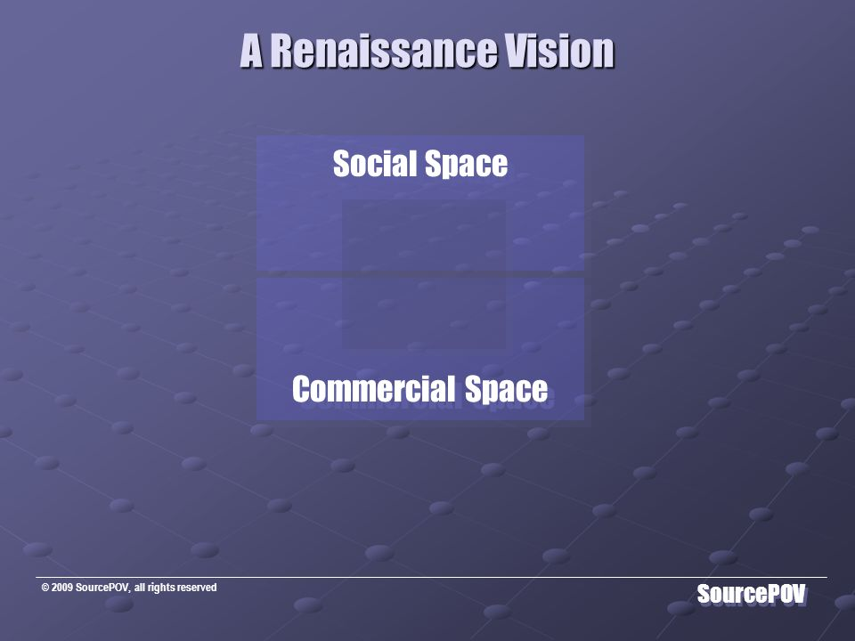 © 2009 SourcePOV, all rights reserved SourcePOV A Renaissance Vision Commercial Space talent  innovation human conditiontriple bottom line human condition  triple bottom line crossing silos Commercial Space talent  innovation human conditiontriple bottom line human condition  triple bottom line crossing silos Social Space learning as priority family  community ideas as a new currency Social Space learning as priority family  community ideas as a new currency