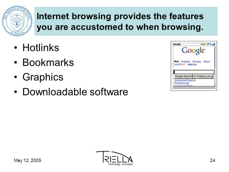 May 12, 200524 Internet browsing provides the features you are accustomed to when browsing.