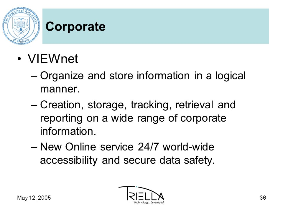 May 12, 200536 Corporate VIEWnet –Organize and store information in a logical manner.