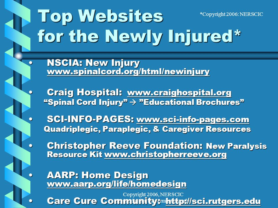 Copyright 2006, NERSCIC Reproduction by permission only Top Websites for the Newly Injured* NSCIA: New Injury www.spinalcord.org/html/newinjuryNSCIA: New Injury www.spinalcord.org/html/newinjury Craig Hospital: www.craighospital.orgCraig Hospital: www.craighospital.org Spinal Cord Injury  Educational Brochures Spinal Cord Injury  Educational Brochures SCI-INFO-PAGES: www.sci-info-pages.comSCI-INFO-PAGES: www.sci-info-pages.com Quadriplegic, Paraplegic, & Caregiver Resources Quadriplegic, Paraplegic, & Caregiver Resources Christopher Reeve Foundation: New Paralysis Resource Kit www.christopherreeve.orgChristopher Reeve Foundation: New Paralysis Resource Kit www.christopherreeve.org AARP: Home Design www.aarp.org/life/homedesignAARP: Home Design www.aarp.org/life/homedesign Care Cure Community: http://sci.rutgers.eduCare Cure Community: http://sci.rutgers.edu *Copyright 2006: NERSCIC