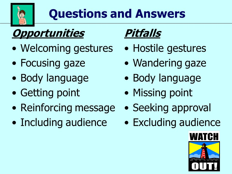 Questions and Answers Opportunities Welcoming gestures Focusing gaze Body language Getting point Reinforcing message Including audience Pitfalls Hosti