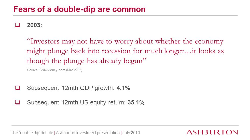 "The 'double dip' debate | Ashburton Investment presentation | July 2010 Fears of a double-dip are common  2003: ""Investors may not have to worry abou"