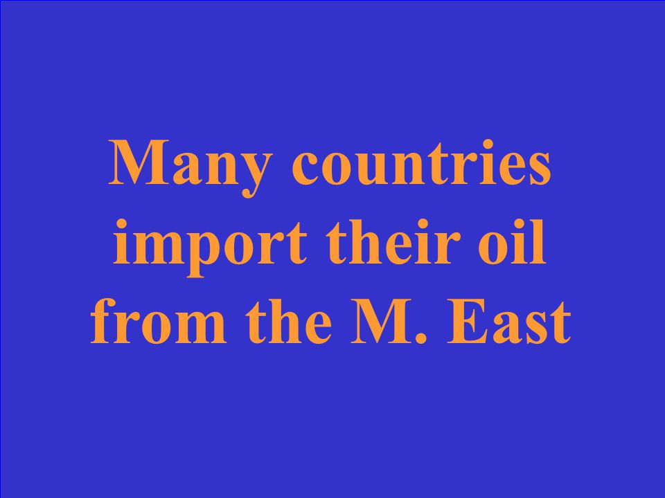 Political unrest in the M. East today affects economies of other countries because
