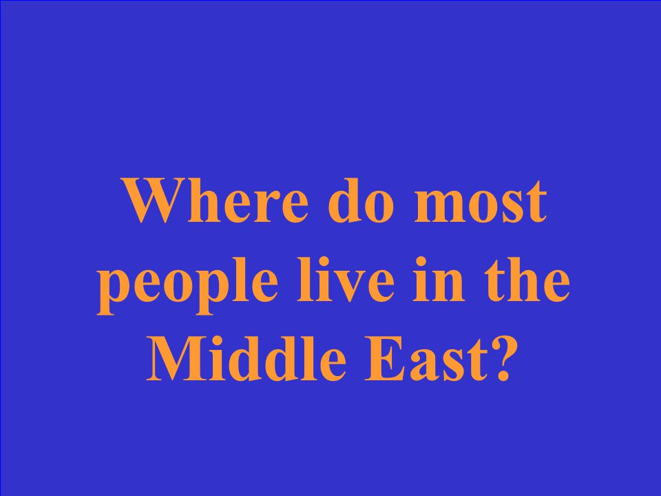 Where do most people live in the Middle East?