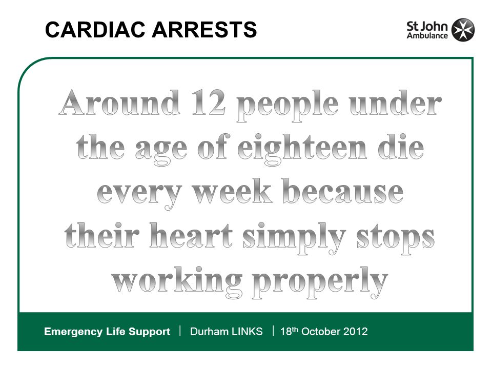 Emergency Life Support  Durham LINKS  18 th October 2012 The Chain Of Survival: What can we do to help?