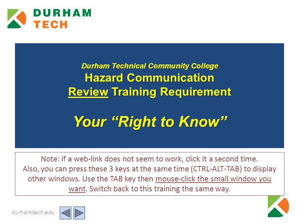 durhamtech.edu Question 2: click the correct response 2.