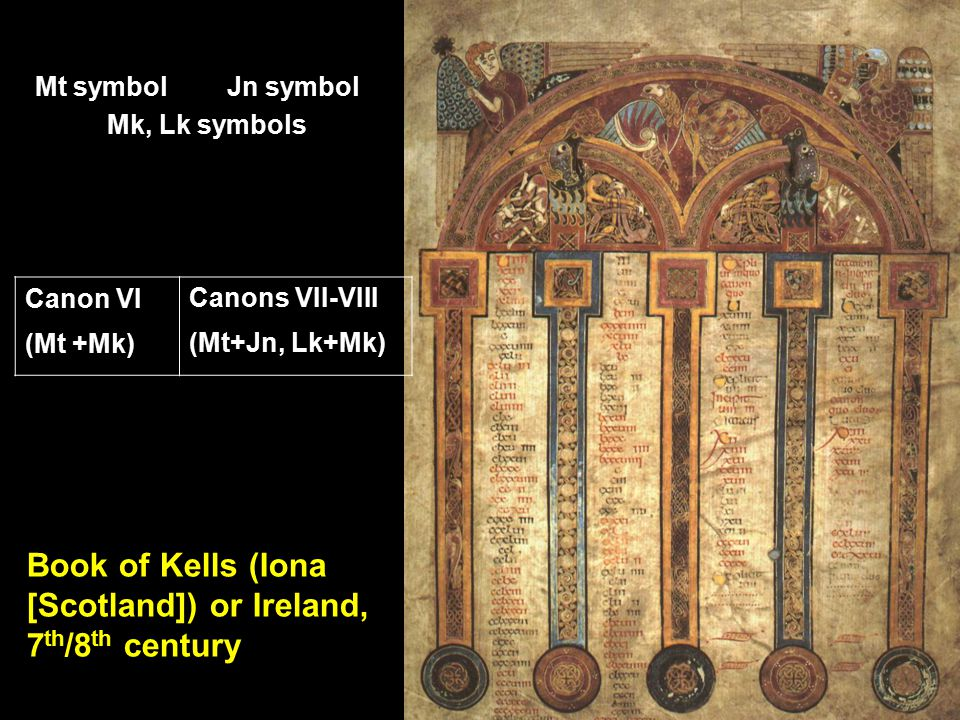 Book of Kells (Iona [Scotland]) or Ireland, 7 th /8 th century Mt symbolJn symbol Mk, Lk symbols Canon VICanons VII-VIII (Mt +Mk)(Mt+Jn, Lk+Mk)