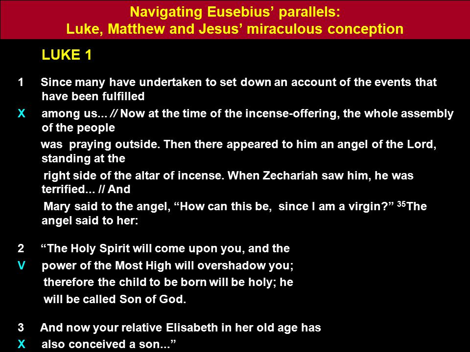 LUKE 1 1 Since many have undertaken to set down an account of the events that have been fulfilled X among us...