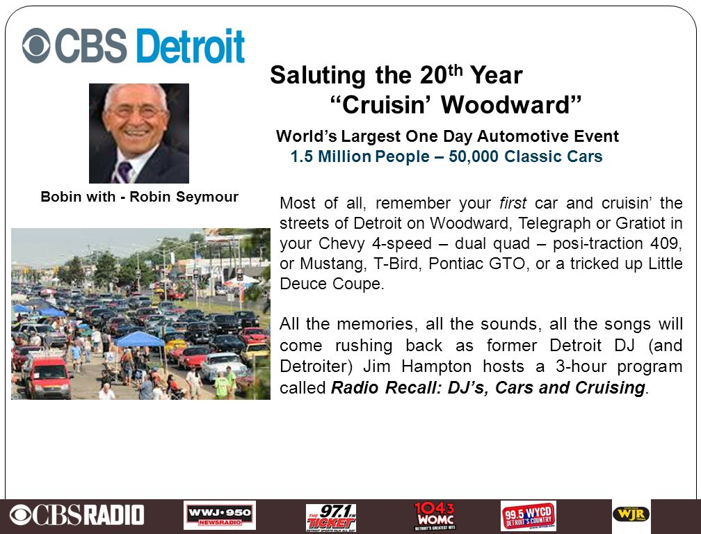 Insert Local Station(s) Images Here Jim Hampton's Radio Recall DJs - Cars - Cruisin A week long Hello Detroit celebration While millions watch the Woodward Cruise and listen to Detroit's most popular stations of today….