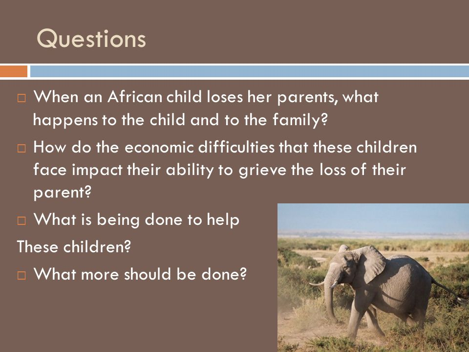 Method  Impact to the child and family  Used search term AIDS orphans  Read and analyzed all of the research.