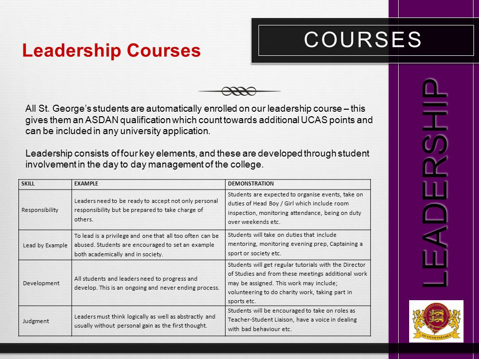COURSES LEADERSHIP Leadership Courses All St. George's students are automatically enrolled on our leadership course – this gives them an ASDAN qualifi