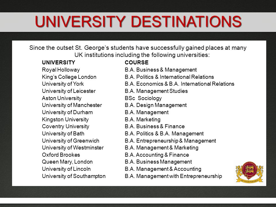 Since the outset St. George's students have successfully gained places at many UK institutions including the following universities: UNIVERSITYCOURSE