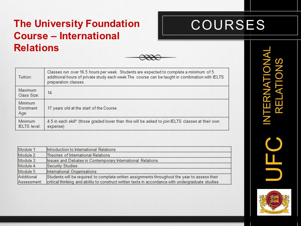 COURSES UFC The University Foundation Course – International Relations Module 1:Introduction to International Relations Module 2:Theories of Internati