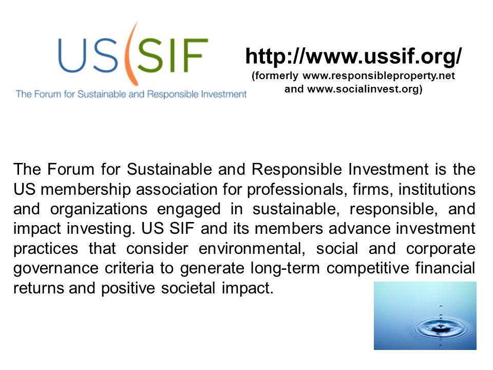 http://www.ussif.org/ (formerly www.responsibleproperty.net and www.socialinvest.org) The Forum for Sustainable and Responsible Investment is the US m